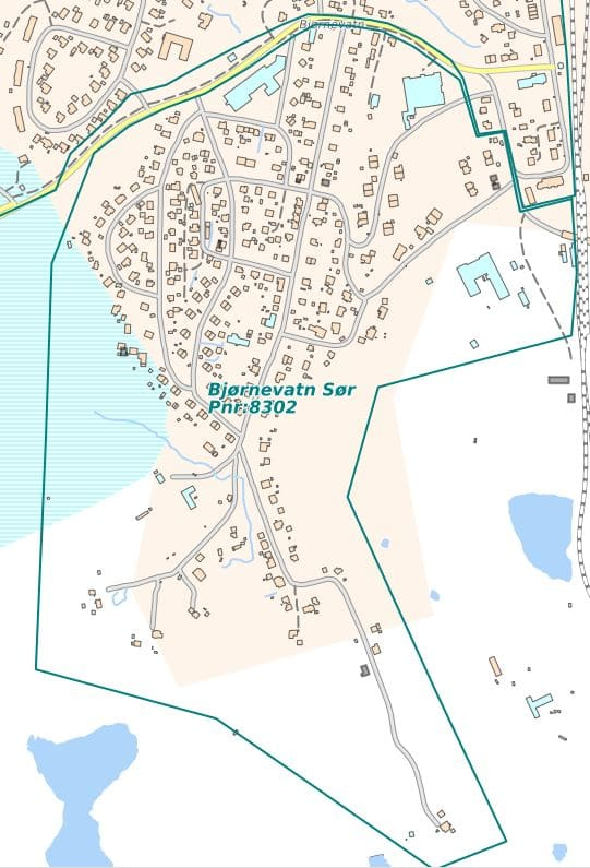 Kartutsnitt som viser området for fiberutbyggingen i Bjørnevatn Sør i Kirkenes