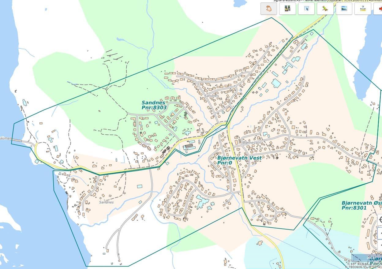 Kartutsnitt som viser området for fiberutbyggingen i Bjørnevatn vest og Sandnes i Kirkenes