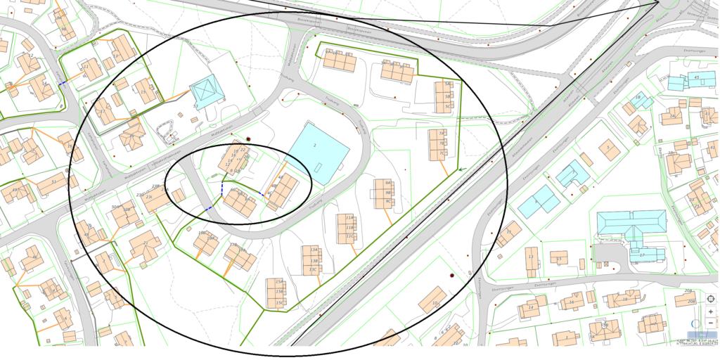 fiberutbygging i Alta. Bildet viser området rundt Trudvang. Fiberutbyggingen i den store sirkelen viser det som er fullført, mens det i den miste sirkelen gjenstår