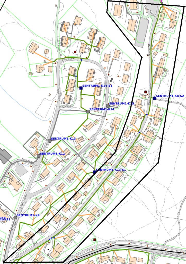 Kartskisse som viser gravetraseene i Tollevika i Alta i forbindelse med fiberutbyggingen i regi av Signal og Altibox
