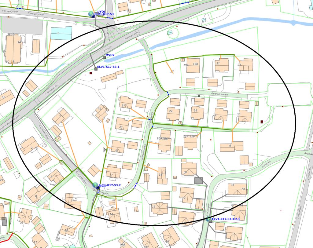 Kart over gravetraseer i Geitramsveien og Aronnesveien i forbindelse med fiberutbyggingen fra Signal og Altibox på Aronnes i Alta