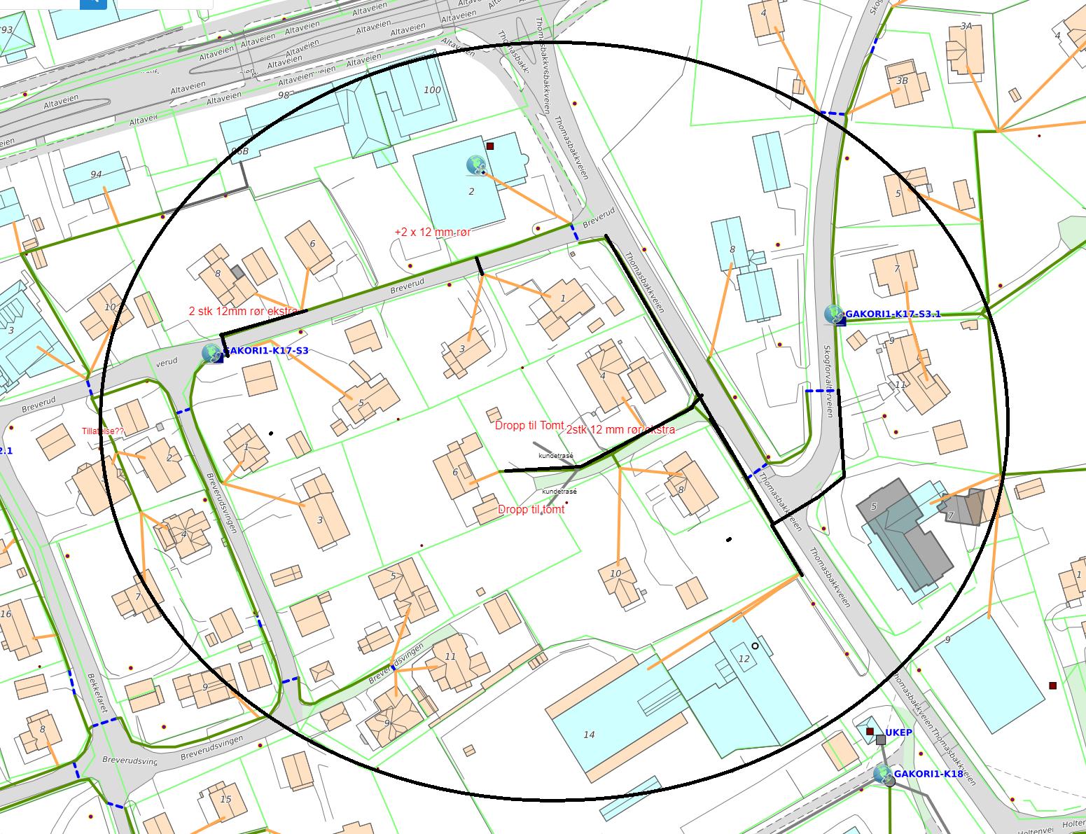 Kartskisse som viser gravearbeider i Bossekop i forbindelse med Signal og Altibox fiberutbyggingsprosjekt i Bossekop Sør og Alta