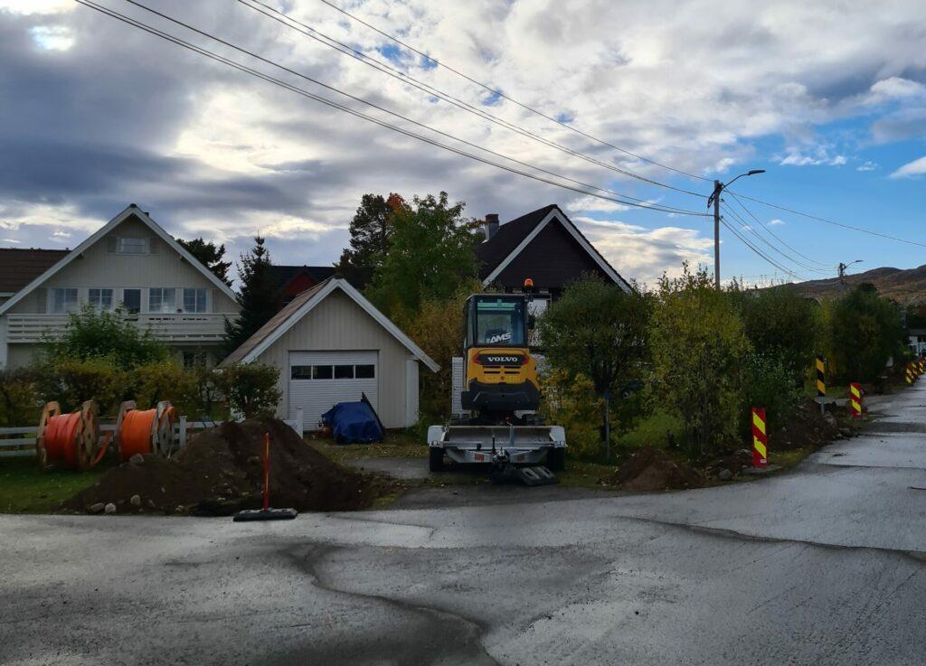 Anleggsarbeider i området Gakori og Hjemmeluft i Alta i forbindelse med Signal og Altibox utbygging av fiberbredbånd