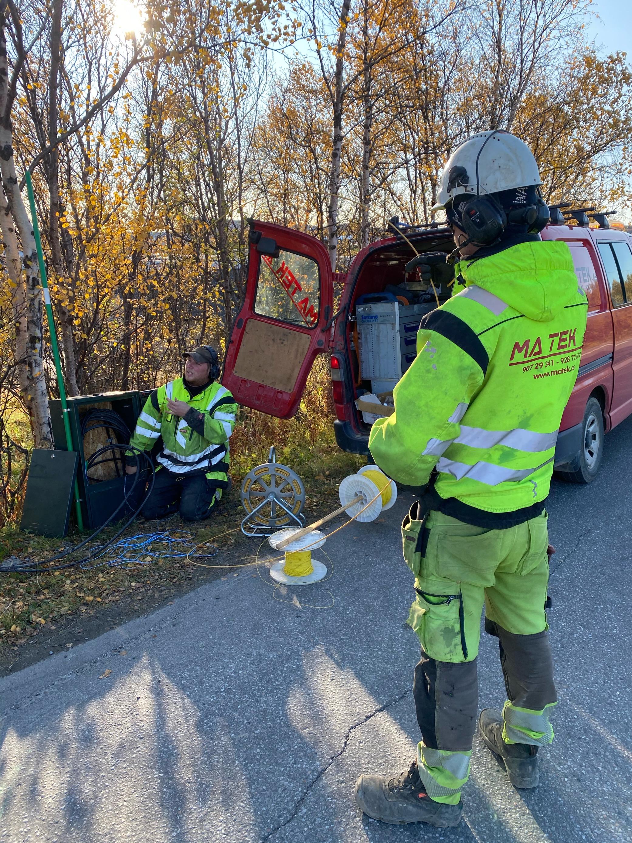 fiberblåsing i forbindelse med fiberutbyggingen på Hesseng i Alta