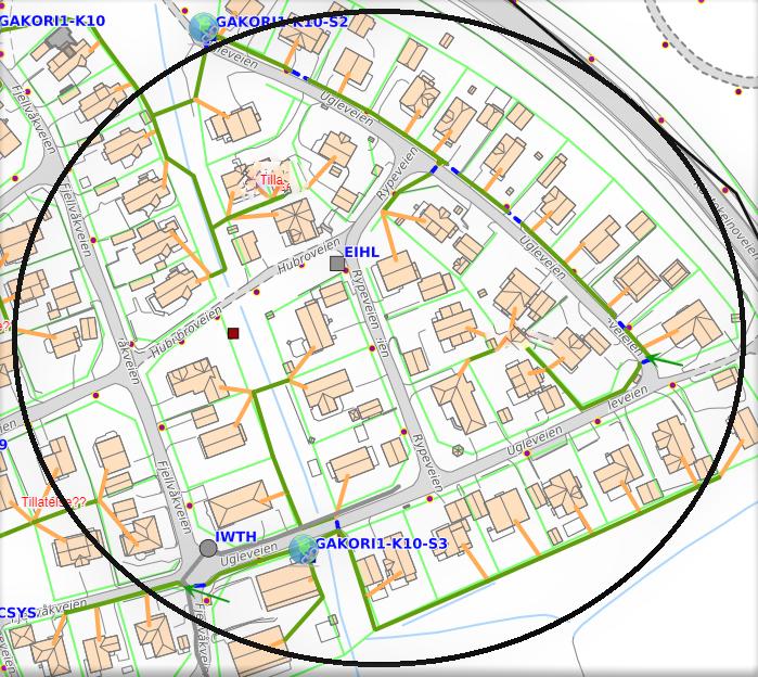 Kartutnittet viser hvor Signal Bredbånd skal grave fiber for å levere Altibox til kunder i Gakori og Hjemmeluft i Alta