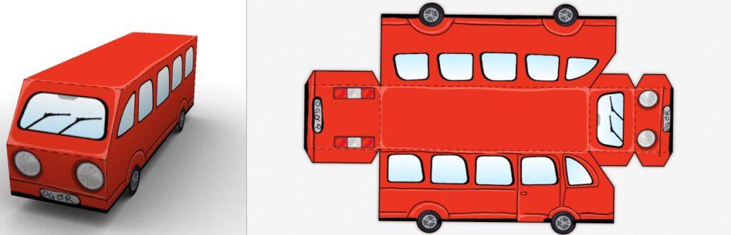 Rød buss brettet sammen til 3D figur