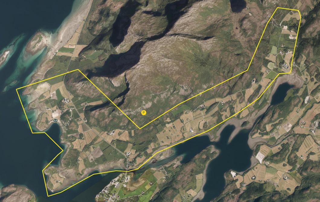 Kartutsnitt over prosjektområde i Trælnes